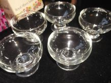 "5 X VINTAGE GLASS FOOTED SUNDAE DISHES EXCELLENT CONDITION 3"" HIGH X 4"" DIA"